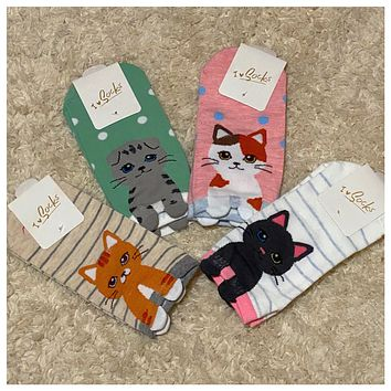 Adorable Kitty Cat Ankle Socks - Adult