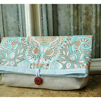 Owl Natural Linen Clutch Handmade Padded Make Up Travel by hoganfe