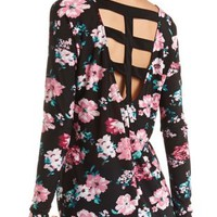 Caged Back Long Sleeve Tunic Top by Charlotte Russe - Black Combo