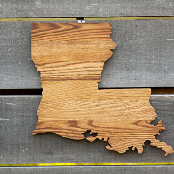Louisiana state shape wood cutout wall art handcrafted from repurposed Oak flooring 14x17 in. Wedding Housewarming Cabin Rustic Gift Decor