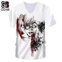 OGKB Sexy Deep V Neck Tshirt For Women/men Cool Print Suicide Squad 3D T-shirt Harley Quinn T Shirts Unisex Fitness Casual Tees