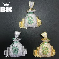 THE BLING KING CZ Money Bag Bitcoin Pendant Gold Silver Rose Gold Color Micro Paved Cubic Zirconia Punk Jewelry