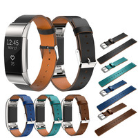 Replacement Luxury Genuine Leather Band Strap Bracelet For Fitbit Charge 2