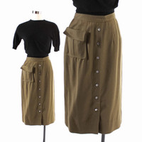 Vintage 50s SKIRT / 1950s OLIVE Green Wool Pencil Skirt with Large Pocket S