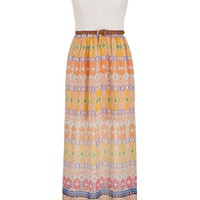 Ethnic Print Chiffon Maxi Dress With Lace Top - Multi