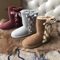 ugg side bow tie ribbon warm snow boots
