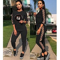 FENDI Hot Sale Women Fashion Sequins Print Long Sleeve Top Pants Set Two-Piece Sportswear Black
