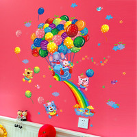 DIY Removable wall Stickers Cartoon Cute Animals Train Balloon Kids Bedroom Home Decor Mural Decal Small Size SM6