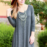 GATHER AROUND TUNIC DRESS IN CHARCOAL