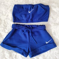 NIKE women new fashion printing casual sports two-piece suit Blue
