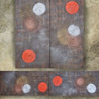 View: rusty iron bronze orange 50x200x2 cm Vertical long painting decor A171 original abstract art Large paintings stretched canvas acrylic art industrial metallic textured wall art by artist Ksavera | Artfinder