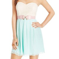 City Studios Juniors' Strapless Lace Belted Dress