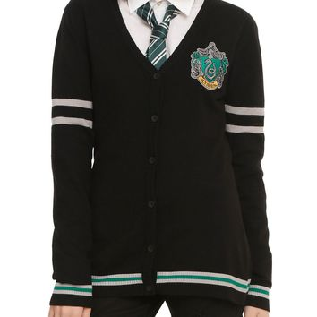 Licensed cool Harry Potter Slytherin Cardigan Sweater House Crest button down JRS XS-2X NWT