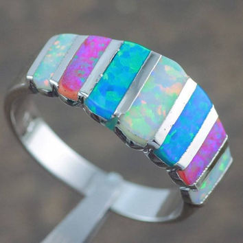 Blue & White Fire Opal 925 Sterling Silver Ring [9833167951]