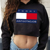 Tommy Ain't Got No Job Cropped Hoodie