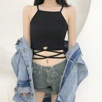 Summer Sexy Vest Topics Cropped feminino Female Bandage camis women hot sexy Summer Woman topics Blusa clothes HTC548