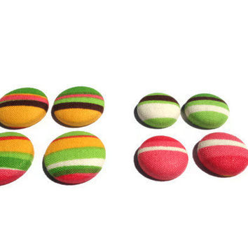 Striped Button Earrings, Fabric Earrings, Colorful Earrings, Nickle Free Stud Earrings, Button Earrings, Mother's Day Gift