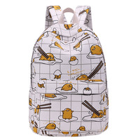Hottest Lazy Egg Printed Kids Backpacks Cartoon Yellow Gudetama Lazy Egg School Bags B H