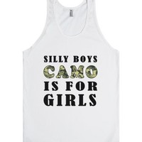 silly boys camo is for girls tank top=JH-Unisex White Tank