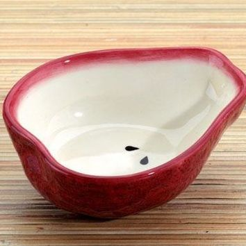 Red Pear Ceramic Dipping Bowl, Set Of 2