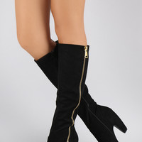 Bamboo Suede Side Zipper Heeled Knee High Boots