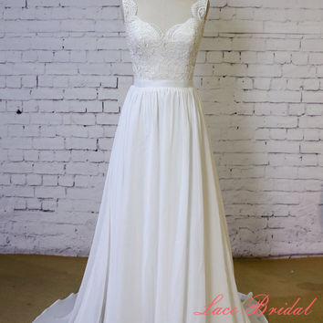 Exquisite Lace Wedding Dress V Shape Lace Neckline Wedding Gown Ivory A-line Bridal Gown Backless Chiffon Wedding Dress with Chapel Train