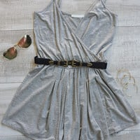Faith Plunging Neckline Romper - Gray