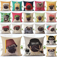 2016 Hot Selling Wearing Hat Pug Home Decorative Sofa Cushion Throw Pillow Case Cotton Linen Square Pillows