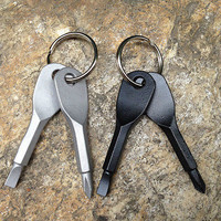 2Keys Stainless Keychain Pocket Tool Screwdriver Set EDC Multifunction
