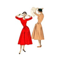 1950s Dress Pattern Butterick 5504 Saw Tooth Square Neckline Gored Skirt Cuffed Sleeves Size 14 Bust 32
