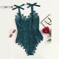 COLROVIE Ribbon Floral Lace Bodysuit Bow Tie Shoulder Women Green Cute Summer Bodysuits Sexy See Though Elegant Bodysuit