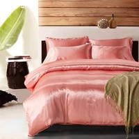 Luxury Pink Satin Silk Bedding Set Queen King Size Printing Pillowcase Duvet Cover Sets Silk  Bedroom Sleeping Products