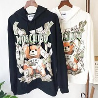 MOSCHINO Popular Women Casual Cute Bear Hoodie Sweater Sweatshirt Top