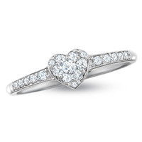 1/4 CT. T.W. Endless Diamond® Heart Promise Ring in 14K White Gold - View All Rings - Zales