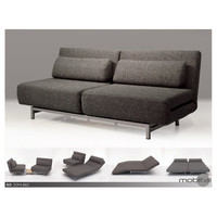 Mobital Iso Double Sofabed With 2 Single Swivel Chairs-Charcoal/Silver Powder Coated Legs