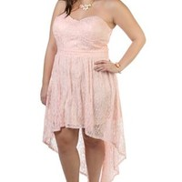 plus size corset style strapless high low prom dress