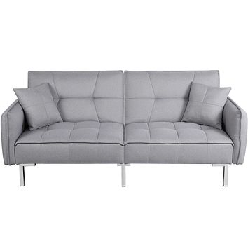 YAHEETECH Sleeper Sofa Convertible Sofa Modern Adjustable Futon Couches Sofas Bed for Living Room Fold Up and Down Recliner Couch Gray Grey
