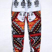 Black Emoji Poker Print Joggers Trousers