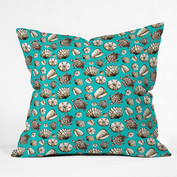 Madart Inc. Sea of Whimsy Sea Shell Pattern Outdoor Throw Pillow