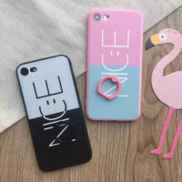 Double color smiling face with bracket Phone Case Cover for Apple iPhone 7 7 Plus 5S 5 SE 6 6S 6 Plus 6S Plus + Nice gift box! LJ161006-005