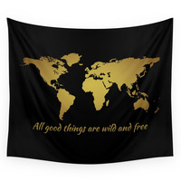 Society6 All Good Things Are Wild And Free Wall Tapestry