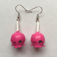 Shopkins Foodie Earrings - Candy Apple (pink) - made with repurposed toys