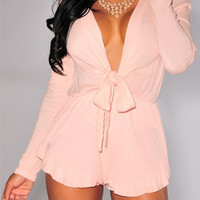 Pink V-Neck Bowknot Long Sleeve Romper