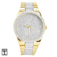 Jewelry Kay style Men's Bling Bling CZ Gold Plated Metal Band Iced Out Watches 1559 TT