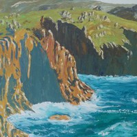 View: Steep coastal cliffs 60x120x4 cm palette knife painting Large painting S045 OOAK decor original art ready to hang acrylic on stretched canvas wall art by artist Ksavera | Artfinder