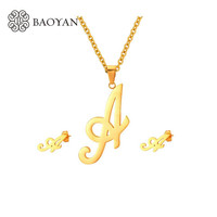 Initial Letter Earring Necklace Jewelry Sets For Women Girl Stainless Steel Jewellery Set