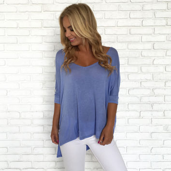 Freedom Jersey Blouse In Periwinkle