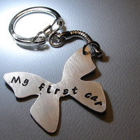 Butterfly Key Chain with My First Car Handmade From Aluminum