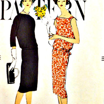 50s Two Piece Dress Over Blouse Slim Skirt Drop Waist Vogue Pattern 9497 Neckline Sleeve Options Vintage Sewing Patterns Size 12 Bust 32