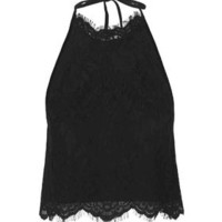 Lace Halterneck Top - Black